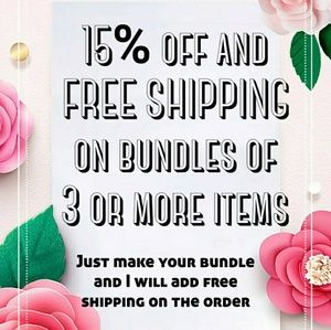 15% off and Free shipping on bundles of 3 or more